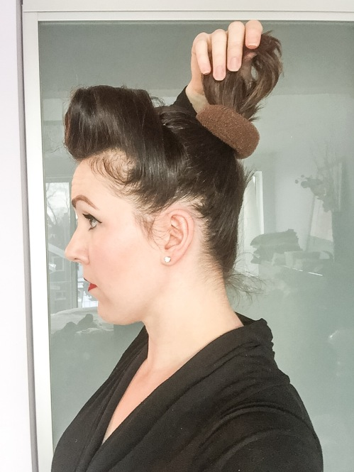 Place the bun form at base of ponytail and secure with bobby pins.